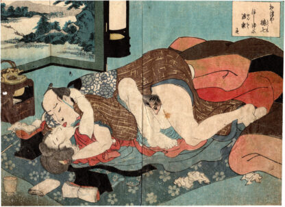 TOKUSHICHI AND OTSUYA KISSING PASSIONATELY (Utagawa Kunisada)