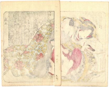 THE THOUSAND MILE LENS: COURTESAN AND CLIENT ABOARD A PLEASURE BOAT (Utagawa Kunitora)