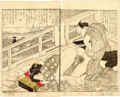 CALL OF GEESE MEETING AT NIGHT: VIEW OF SHINAGAWA FROM THE SECOND FLOOR OF A TEA HOUSE (Utagawa Toyokuni)