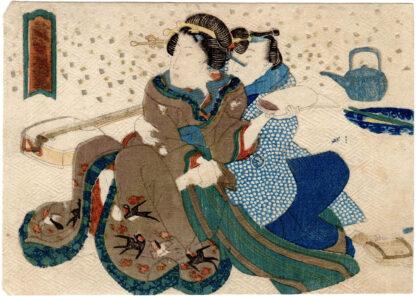 A GUIDE TO THE YOSHIWARA RED LIGHT DISTRICT: SEDUCING A SHAMISEN PLAYER (Utagawa Kunisada)