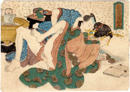 A GUIDE TO THE YOSHIWARA RED LIGHT DISTRICT: COUPLE READING A SHUNGA (Utagawa Kunisada)