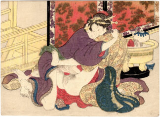 COUPLE NEXT TO A BRAZIER (Keisai Eisen)