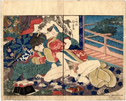 COLORS OF SPRING: LOVERS IN THE NIGHT (Utagawa Kuniyoshi)