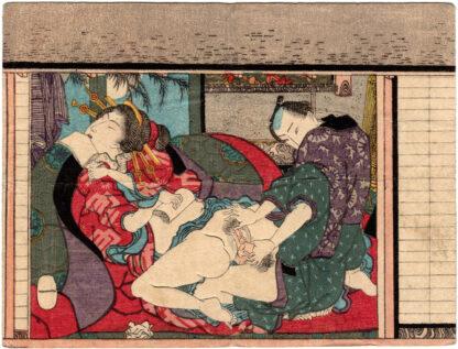 AMOROUS COUPLE ON A FULL MOON NIGHT (Utagawa School)