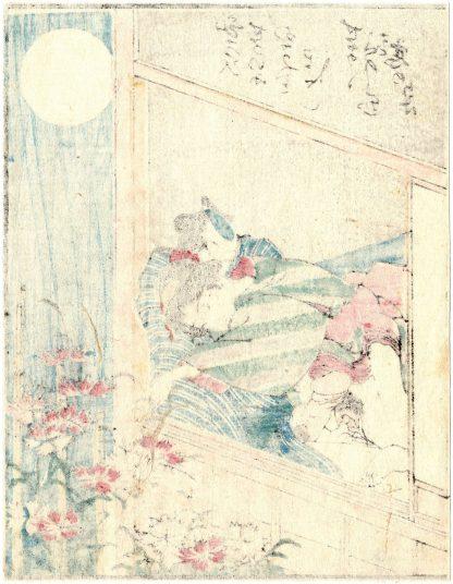 DODOITSU SONGS: FULL MOON AND WILD CARNATIONS (Utagawa Kunimaro)