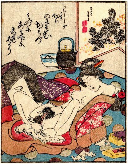 DODOITSU SONGS: PLAYING WITH A DILDO (Utagawa Kunimaro)