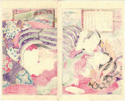 EIGHT AMOROUS VIEWS OF OMI: RETURNING SAILS AT YABASE (Koikawa Shozan)