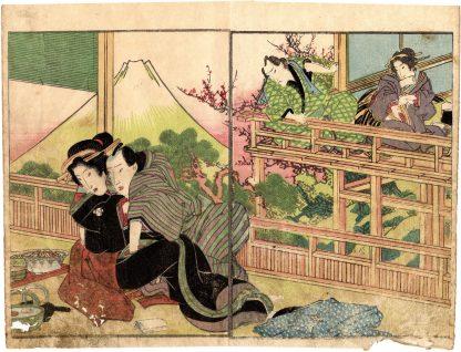 AMOROUS COUPLES AND VIEW OF MOUNT FUJI (Keisai Eisen)