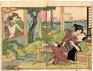 AMOROUS COUPLES AND VIEW OF THE BAY (Keisai Eisen)