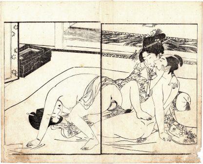 MAN ENJOYING TWO BEAUTIES (Kitagawa Utamaro)