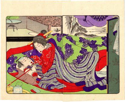 FASHIONABLE TEXTILE PATTERNS: UNDER THE BLANKETS (Utagawa Kuniyoshi)