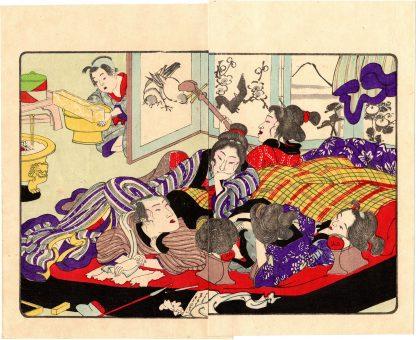 FASHIONABLE TEXTILE PATTERNS: WAKING UP AT THE BROTHEL (Utagawa Kuniyoshi)