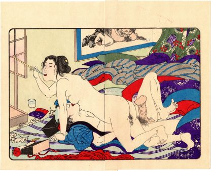 FASHIONABLE TEXTILE PATTERNS: LIGHTING THE PIPE (Utagawa Kuniyoshi)