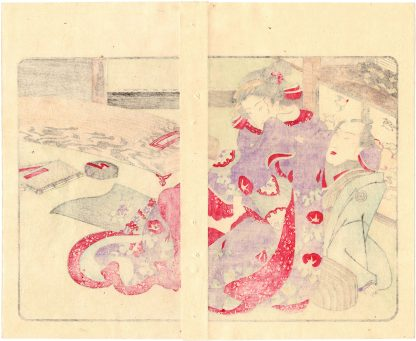 FASHIONABLE TEXTILE PATTERNS: KOTO PLAYER (Utagawa Kuniyoshi)