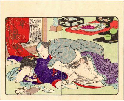 FASHIONABLE TEXTILE PATTERNS: IN THE TEAHOUSE (Utagawa Kuniyoshi)