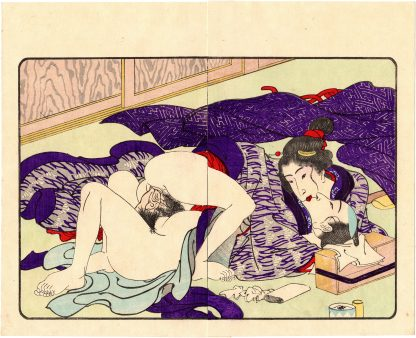FASHIONABLE TEXTILE PATTERNS: PASSIONATE KISS (Utagawa Kuniyoshi)