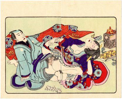 FASHIONABLE TEXTILE PATTERNS: ECSTATIC POSE (Utagawa Kuniyoshi)