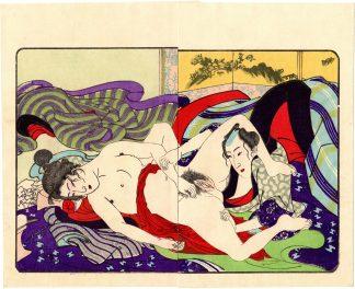 FASHIONABLE TEXTILE PATTERNS: STARING HER PRIVATE PARTS (Utagawa Kuniyoshi)