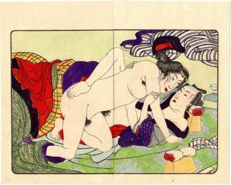 FASHIONABLE TEXTILE PATTERNS: AROUSED COUPLE (Utagawa Kuniyoshi)