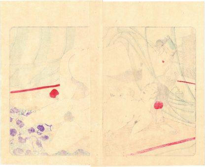 FASHIONABLE TEXTILE PATTERNS: UNDER THE MOSQUITO NET (Utagawa Kuniyoshi)