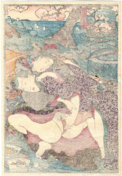 CHERRY BLOSSOMS IN FULL BLOOM AT GOTEN-YAMA (Utagawa Kunimori II)