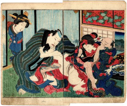 A MIRROR OF LUSTFUL FLOWERS: FORCING A YOUNG WOMAN (Koikawa Shozan)