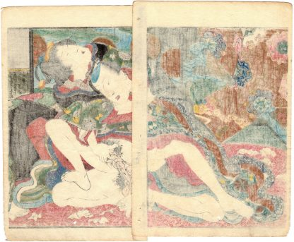 A MIRROR OF LUSTFUL FLOWERS: AMOROUS COUPLE (Koikawa Shozan)